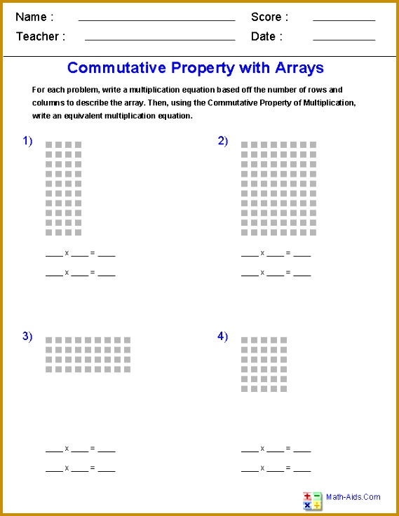 mutative Property of Multiplication br with Arrays Worksheets 736569