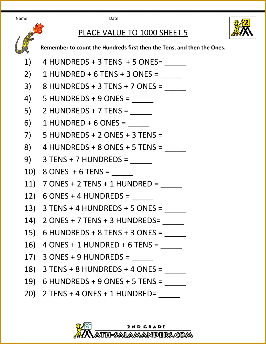 free place value worksheets to 1000 5 9301203