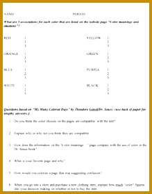 This is a worksheet that goes along with My Many Colored Days by Dr 279219