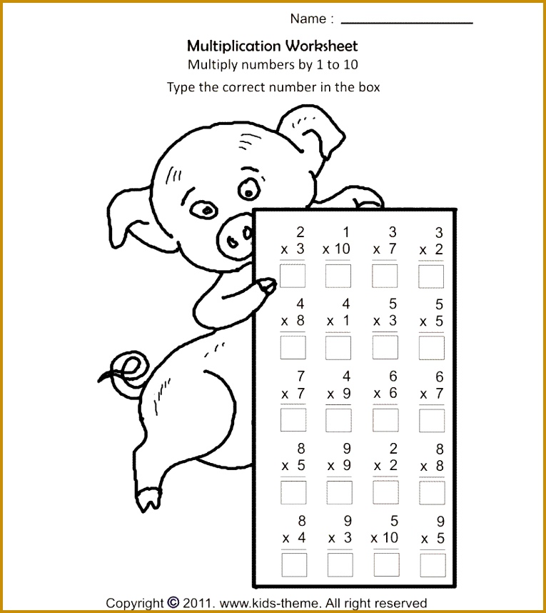 Free printable math worksheets on multiplication multiply numbers by 1 to by multiplication practice worksheets for kids in grade 2 and grade 3 of 765858