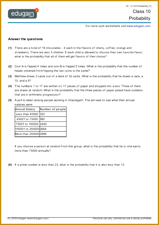 year 10 math worksheets and problems probability edugain australia & Year 10 Maths Worksheets 761538