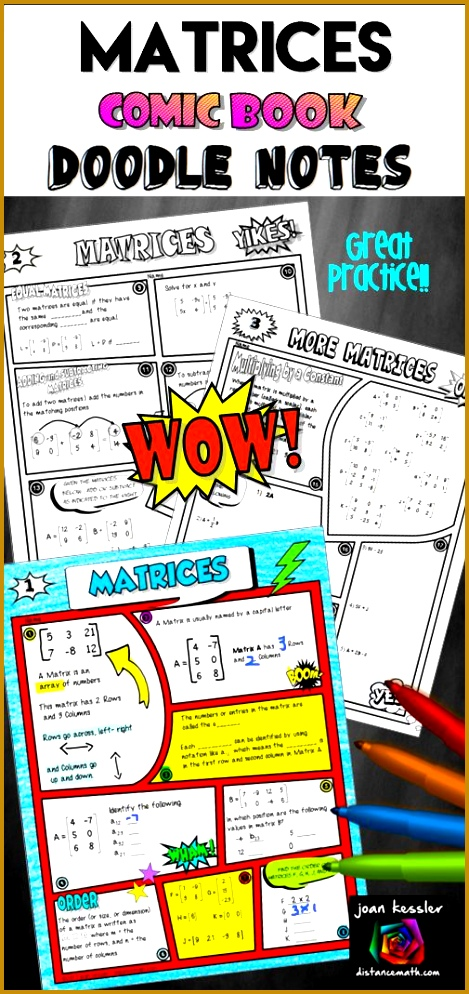 Matrices ic Book Doodle Notes plus Practice 994469