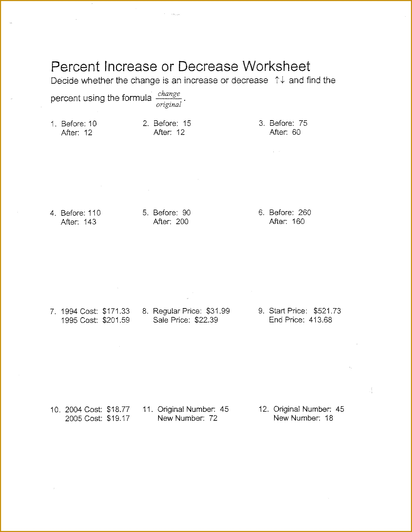 Percent Change Worksheet With Answers 20461584