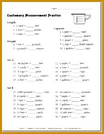 Free Customary Measurement Practice worksheet or quiz 270209