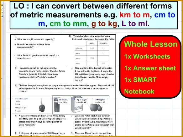 Convert different forms of metric units Mass Capacity Length conversion ks2 5 6 WHOLE LESSON 438584