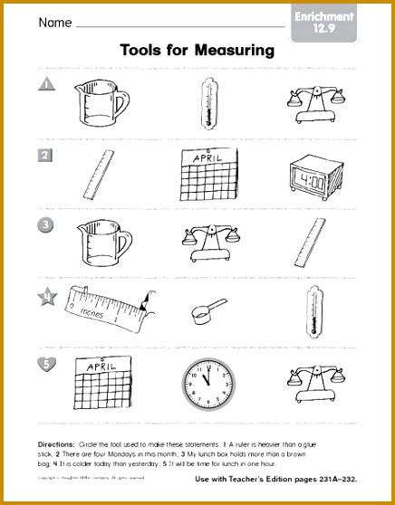 Science Tools Kindergarten Measurement Worksheets Science Best Free Printable Worksheets 558436