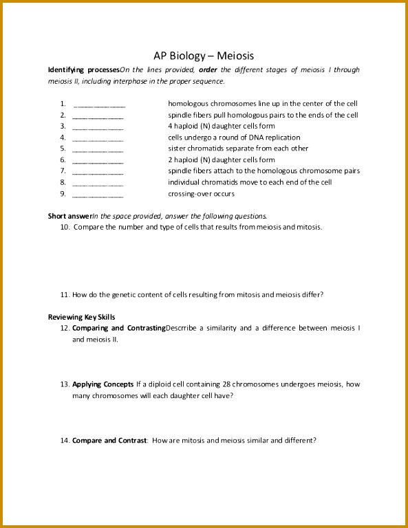Meiosis Worksheet Answers Key Worksheets for all Download and Worksheets 768593