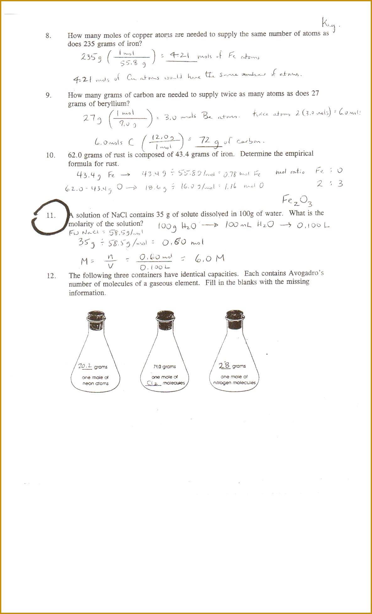 3 Mole Calculation Worksheet | FabTemplatez