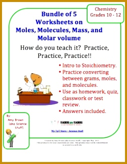 This worksheet consists of 14 problems Students will practice converting between moles grams molecules Your will consist of a worksh… 325252