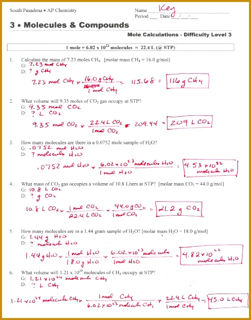 5 Mole to Mole Conversion Worksheet   FabTemplatez