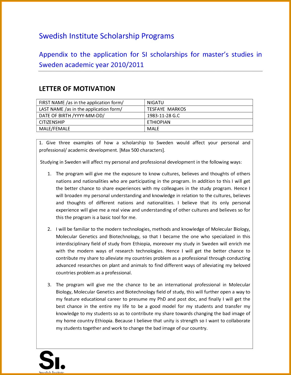 Best Solutions of Sample Motivation Letter For Daad Scholarship For Sheets 15491200