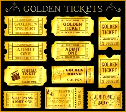 Golden Vector Ticket Templates Royalty Free Stock Illustrations 372418