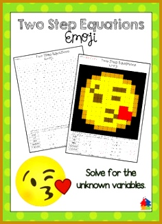 Two Step Equations Emoji Solve for the unknown variable 236325