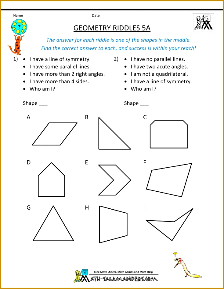 Here you will find our Geometry worksheets containing Geometry riddles from grade to grade Using 950734