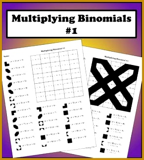 Multiplying Binomials Color Worksheet 1 Multiplying Binomials Color Worksheet 1 325291