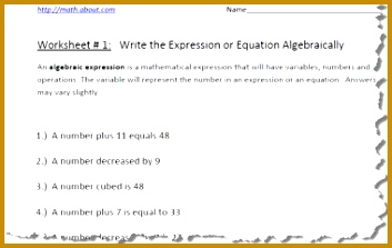 Practice Your Algebraic Expressions With These Pre Algebra Worksheets 223353