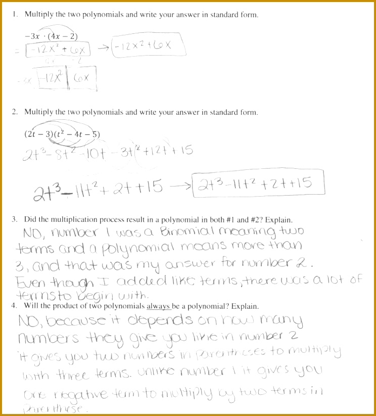 Multiplication Polynomials Worksheets Pdf Binomials Containing Radicals Calculator Multiplying Two Worksheet Milliken Publishing pany Answers 823744