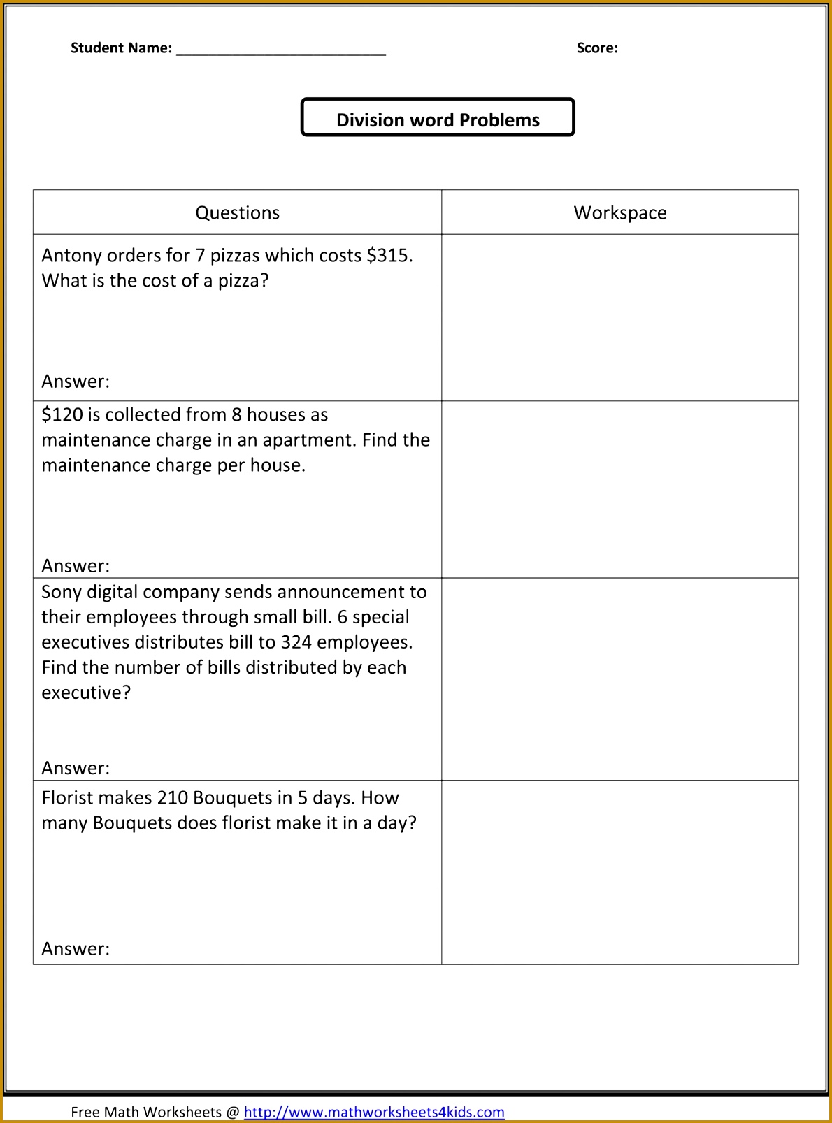 Multiplication Story Problems Worksheets 5th Gra Word Worksh Division Year Powerpoint 3rd Free Pdf Multiplying Fractions 16071190
