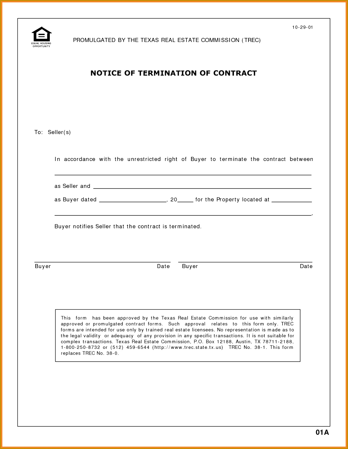 6 Notice Letter for Termination Of Contract