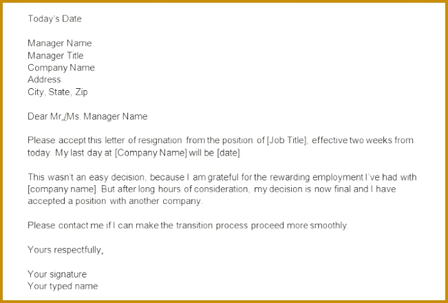 40 Two Weeks Notice Letters & Resignation Letter Templates with regard to Two Weeks Notice 440651