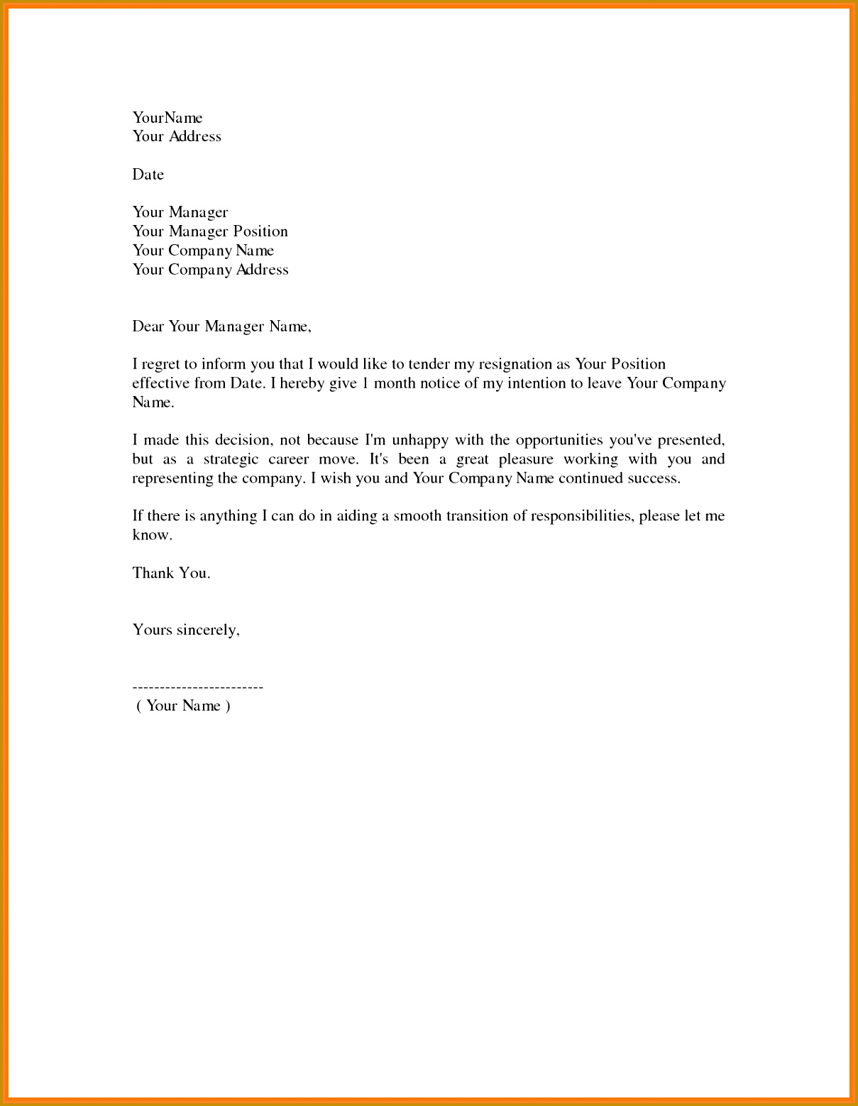 10 sample for resignation letter one month notice 15581209
