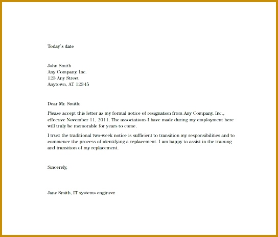 how to write a 2 week notice letter for work two weeks notice resignation letter example 465544