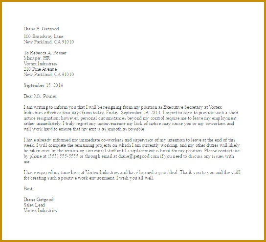 Short Notice Resignation Letter Example Template 496544