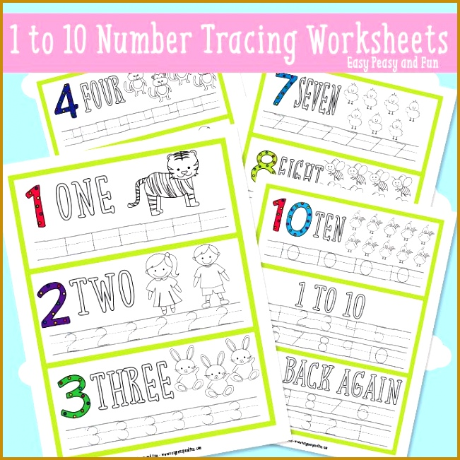 Simple Number Tracing Worksheets 651651