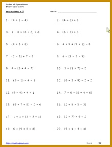 Use These Free Algebra Worksheets to Practice Your Order of Operations 287219