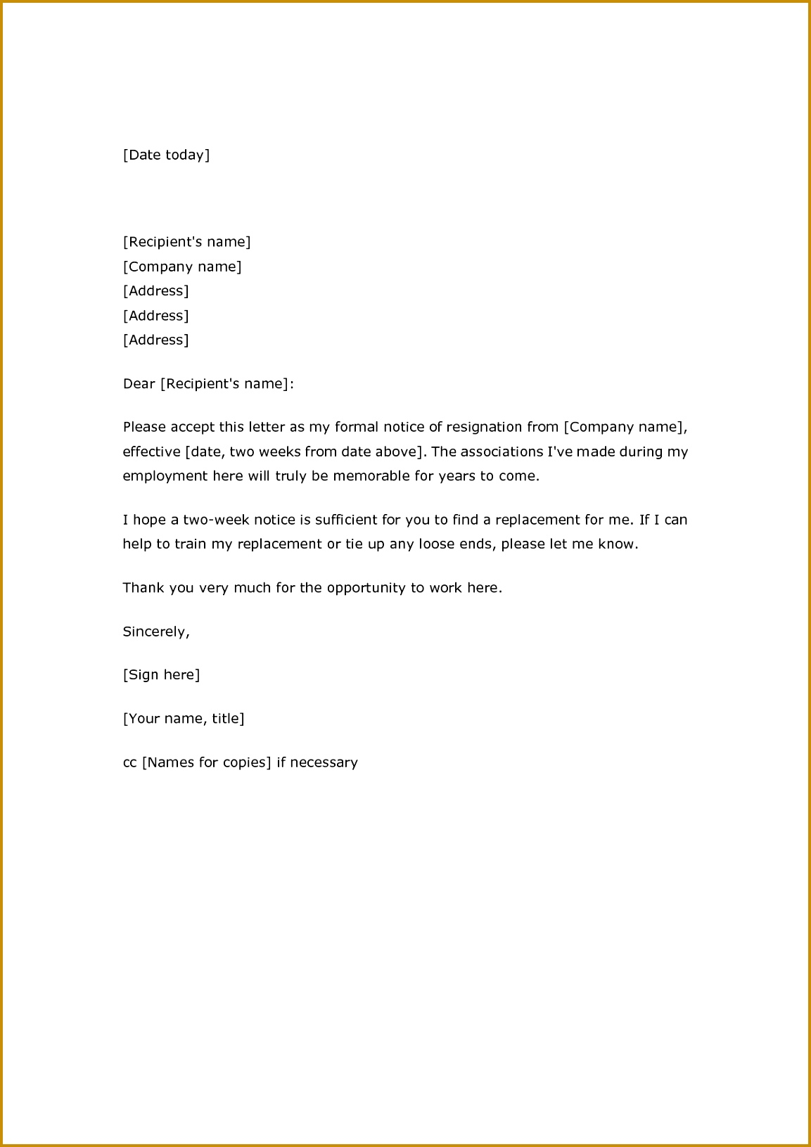 2 Week Notice Letter Template 11531631 Elegant Resignation Nurse