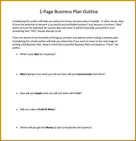 e Page Business Plan Outline 558539