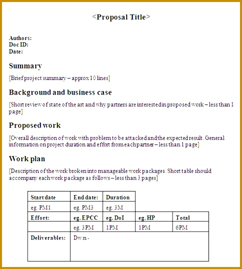 one page proposal template 538484