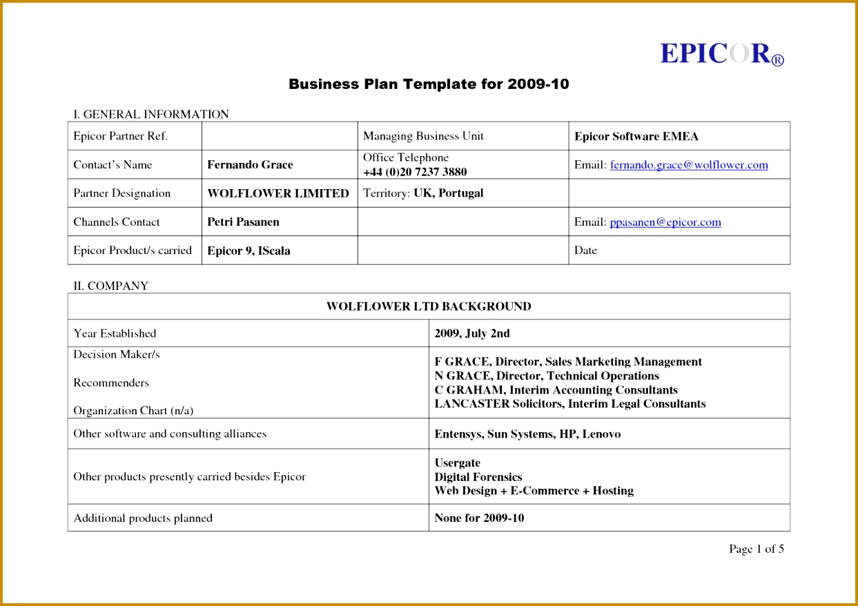 1 Page Business Plan Templates Free 8781243