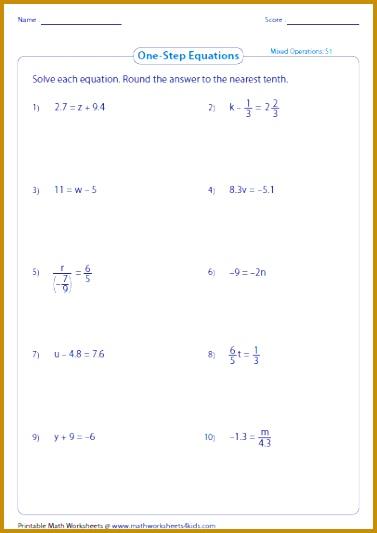 Solve one step equation worksheets 533377