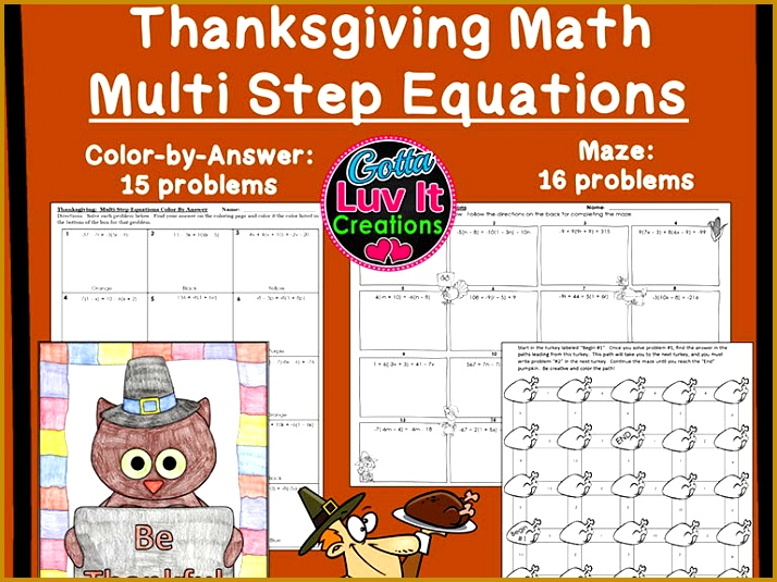 Solving Equations Thanksgiving Turkey Math Multi Step Equations Maze & Color by Number Bundle 535714
