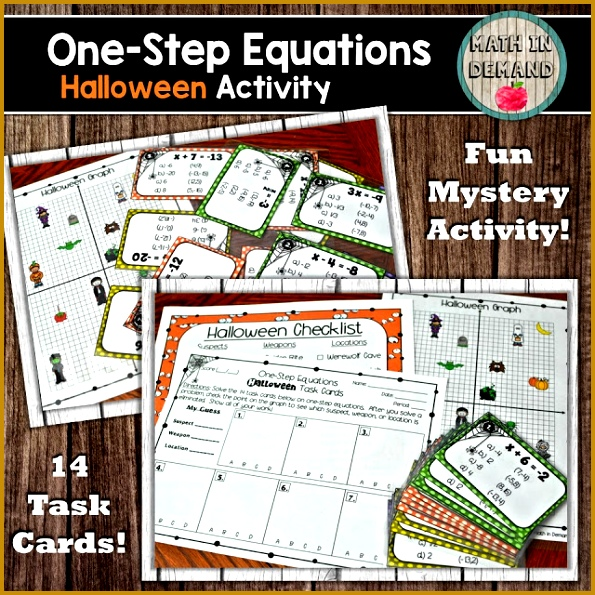 e Step Equations Halloween Task Cards Activity 595595