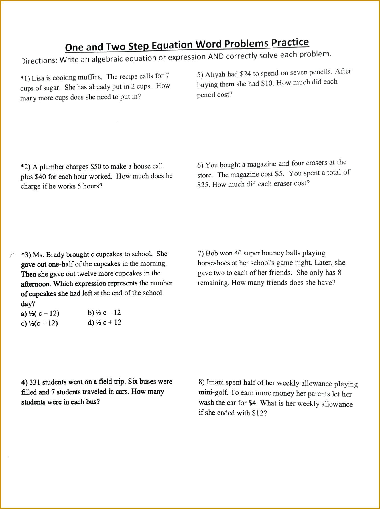 worksheet Solve e Step Equations Worksheets Solving Two Worksheet Grade 1 17851333