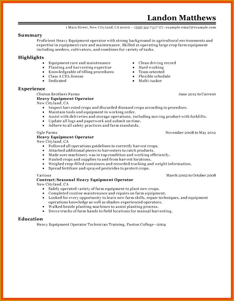 10 11 Heavy Equipment Operator Cover Letter Formatmemo 983764