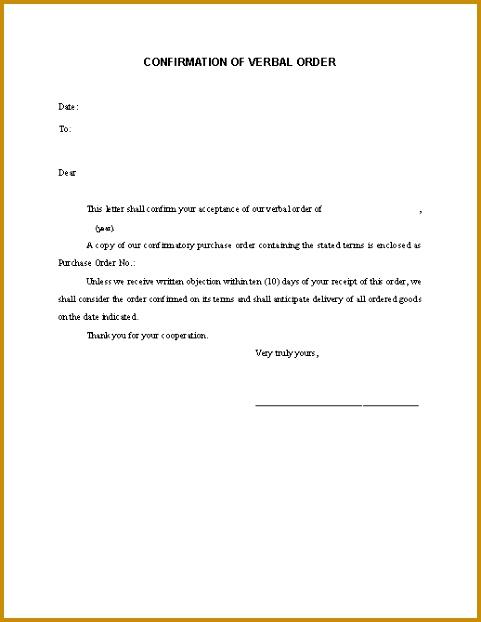 Confirmation Letter Verbal Order 622481