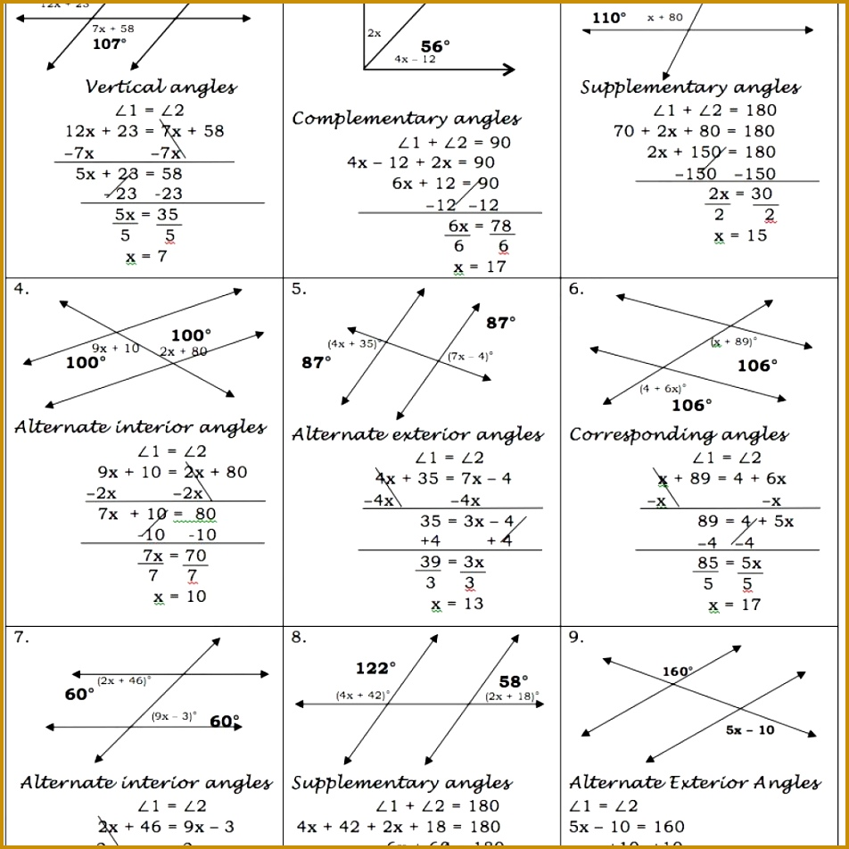 Parallel Lines Cut By A Transversal Worksheet With Answer Key 952952