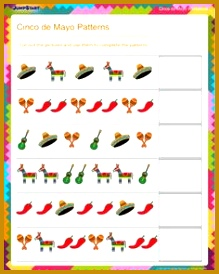 Cinco de Mayo Patterns View Patterns Worksheet for First Grade 219274