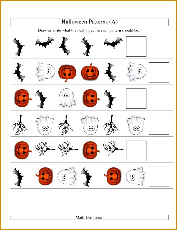 patterning worksheet Halloween Math Worksheet Picture Patterns Two Attributes 744574