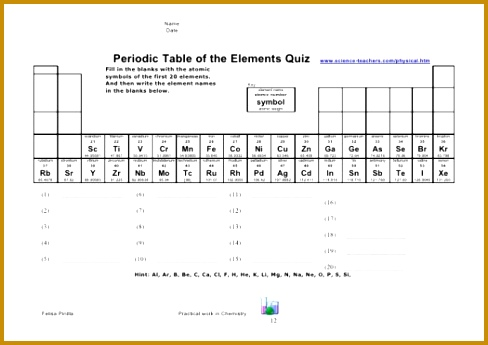 First 20 Elements The Periodic Table Quiz Diagrams Worksheet 345488