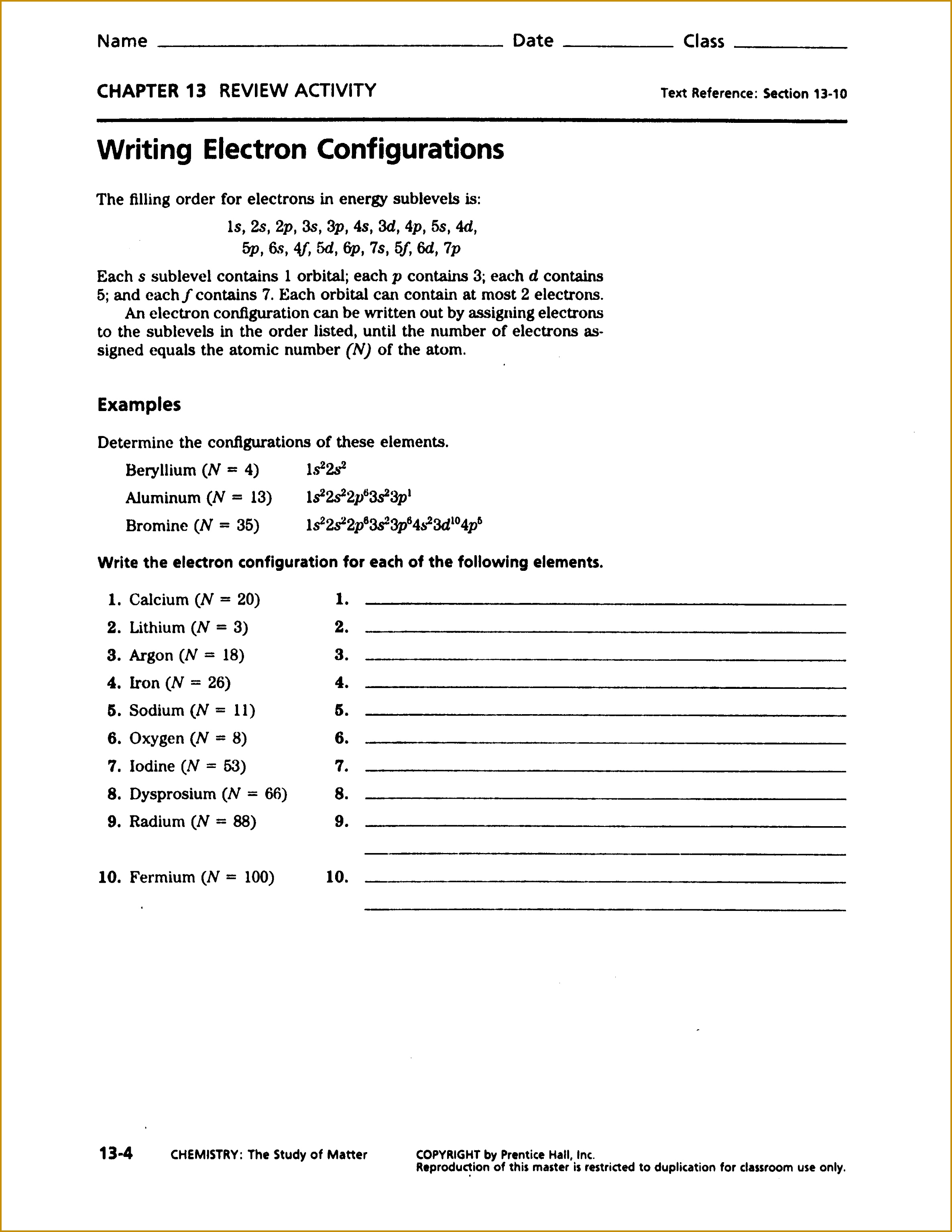 Electron Configuration Worksheet Answers Part A Worksheets for 30692372