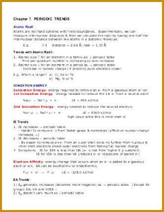 Periodic Trends Worksheet Chapter 7 PERIODIC TRENDS 429332