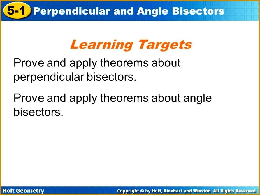 Learning Tar s Prove and apply theorems about perpendicular bisectors 669892