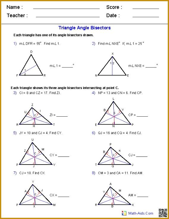 Angle Bisectors Worksheets 736569