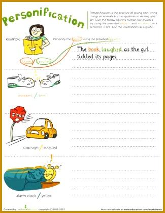 Homeschool Worksheets Personification 421325