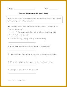 Run on Sentence or Not Worksheet Part 1 Beginner 283219