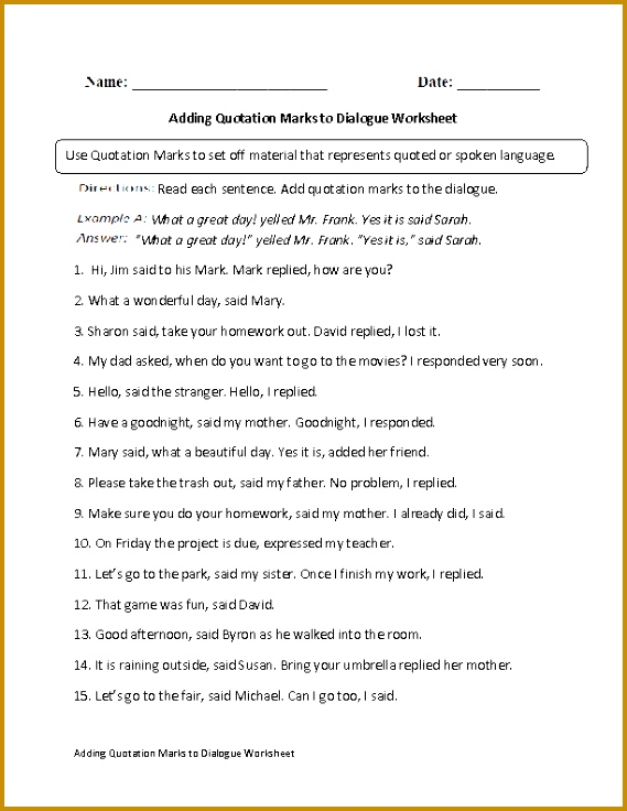 Adding Quotation Marks to Dialogue Worksheet 736569